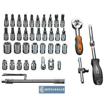 497aff25db17df Neo 08-660 zestaw kluczy nasadowych 1/4 cala 46 szt. - ElektroPasaż